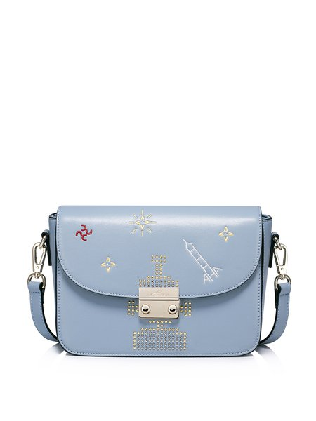 Light Blue Push Lock Sweet PU Satchel