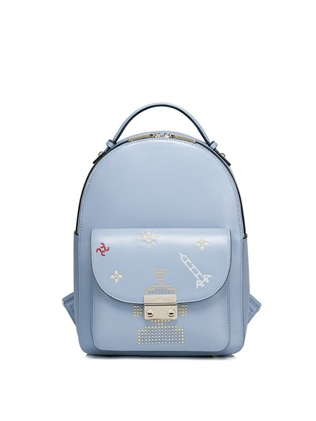 Light Blue PU Zipper Sweet Backpack