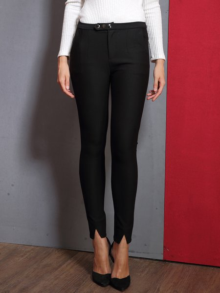 Black Plain Slit Casual Skinny Leg Pants