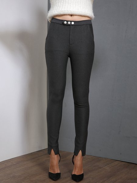 Gray Slit Casual Skinny Leg Pants