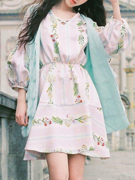 White Girly Polyester V Neck Printed Mini Dress