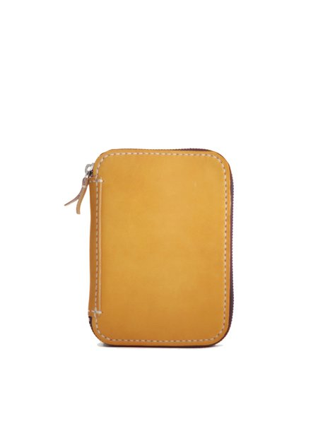 Plain Retro Zipper Cowhide Leather Small Wallet