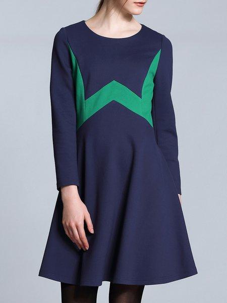 Dark Blue Crew Neck Long Sleeve Simple Color-block Mini Dress
