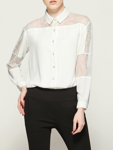 Simple Polyester Long Sleeve Lace Paneled Blouse