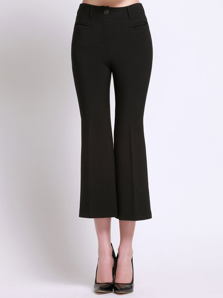 Black Simple Pockets Plain Flared Pants