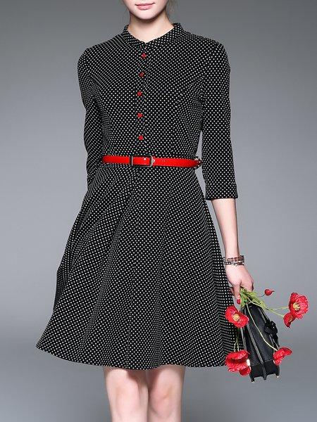 Cotton-blend 3/4 Sleeve Basic Printed Midi Dress