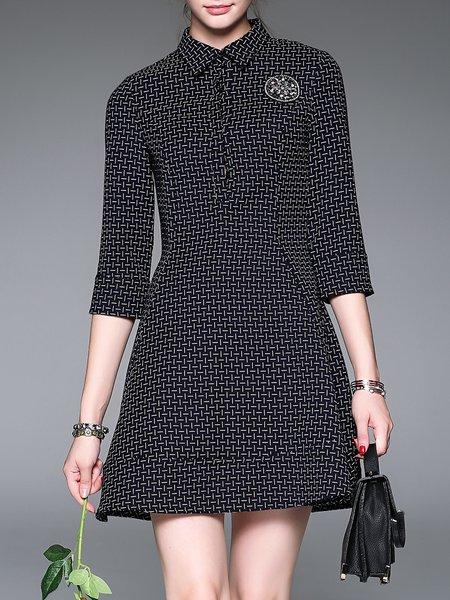 3/4 Sleeve Cotton-blend Printed Basic Mini Dress