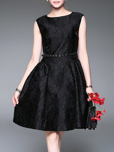 Black Vintage Floral Midi Dress with Belt