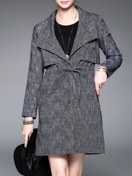 Black Sailor Collar Plain Shirred Simple Linen Trench Coat