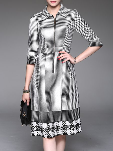 Black Shirt Collar A-line 3/4 Sleeve Polka Dots Midi Dress