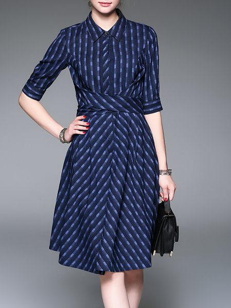 Half Sleeve Basic Cotton-blend Midi Dress