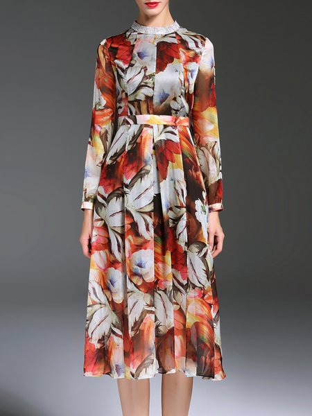 Multicolor Vintage Stand Collar Chiffon Floral Printed Midi Dress