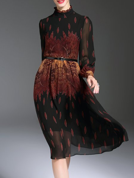 Balloon Sleeve Chiffon Printed Vintage Ruffled Collar Midi Dress