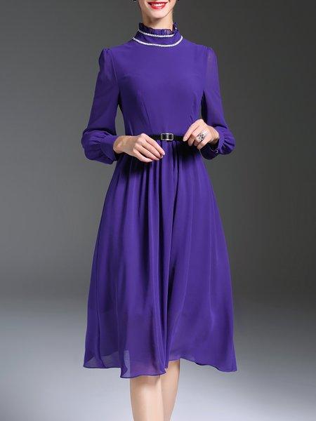 Purple Chiffon A-line Ruffled Collar Long Sleeve Midi Dress