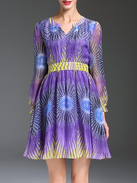 Purple Balloon Sleeve Printed Chiffon Mini Dress