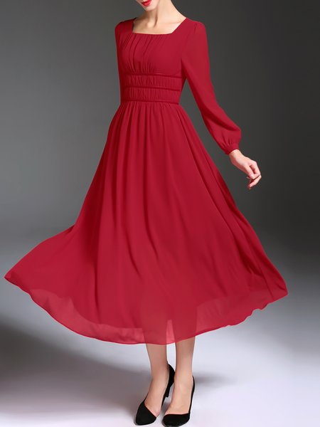 Ruched Square Neck Long Sleeve Solid Vintage Midi Dress