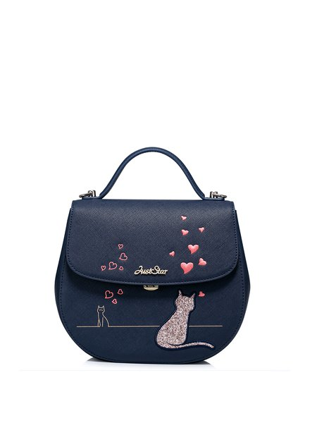 Navy Blue Zipper PU Embroideried Crossbody