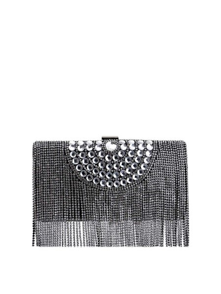 Evening Clasp Lock Small Fringed Clutch