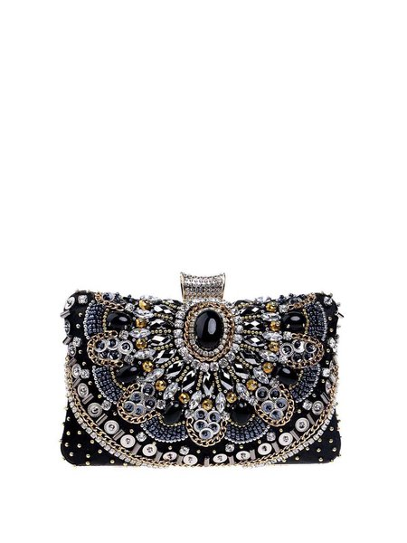 Black Small Evening Beaded Clutch