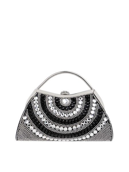 Metallic Handle Evening Beaded Clutch