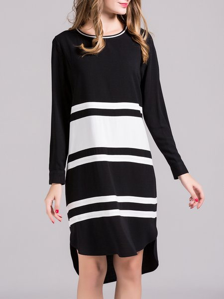 Black Color-block High Low Long Sleeve Linen Midi Dress