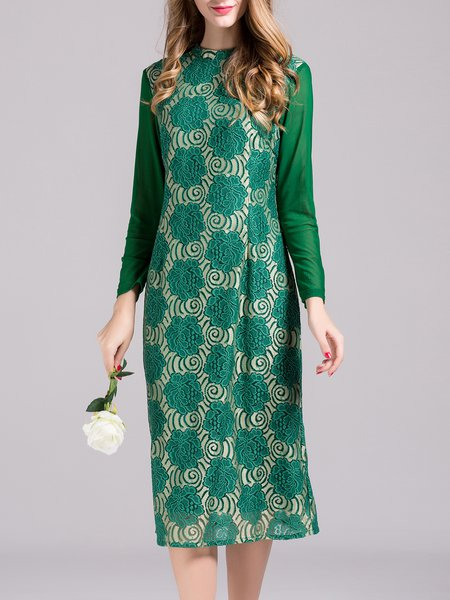 Vintage Embroidered Long Sleeve Midi Dress