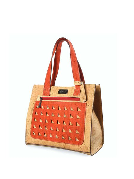 Coral Magnetic Cork Leather Casual Shoulder Bag