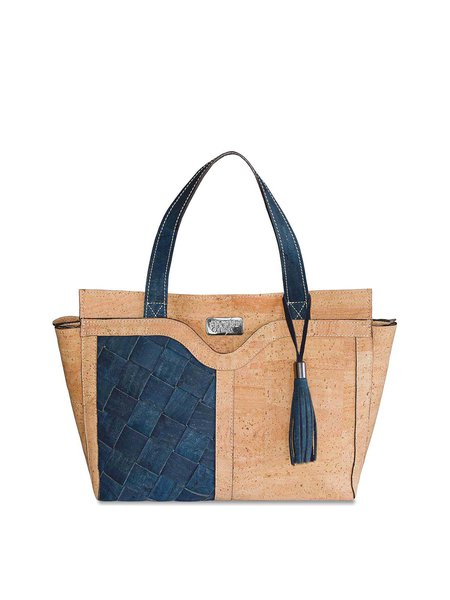 Cork leather Retro Medium Zipper Satchel