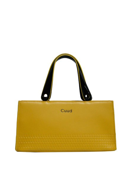 Yellow Cowhide Leather Medium Simple Top Handle
