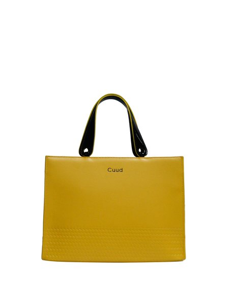 Yellow Medium Cowhide Leather Simple Top Handle