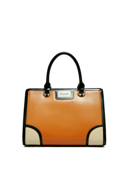 Orange Zipper Cowhide Leather Top Handle