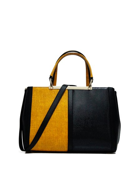 Yellow Medium Work Color-block Cowhide Leather Top Handle