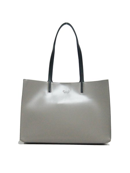 Light Gray Simple Magnetic Solid PU Tote