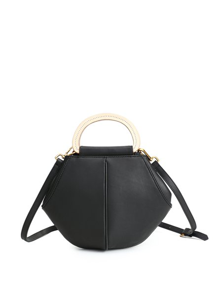 Black Magnetic Cowhide Leather Shoulder Bag