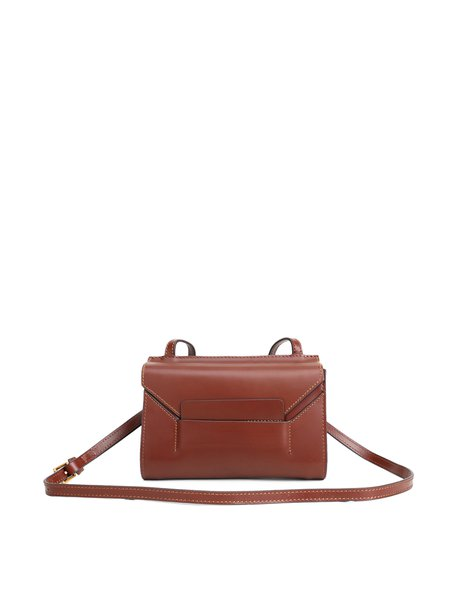 Brown Cowhide Leather Fold-over Flat Top Satchel