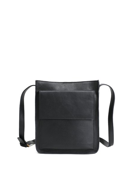 Black Magnetic Cowhide Leather Retro Crossbody