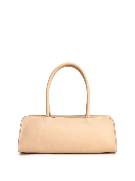 Apricot Simple Zipper Cowhide Leather Top Handle