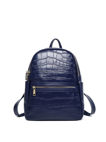Cowhide Leather Zipper Medium Simple Backpack