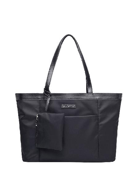 Black Zipper Casual Plain Tote