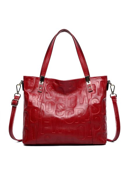 Casual Letter Embossed Cowhide Leather Medium Zipper Satchel