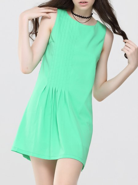 Simple Plain Sleeveless Folds Mini Dress