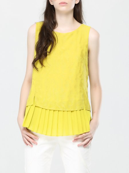 Yellow Crew Neck Sleeveless Plain Polyester Pleated Paneled Tank