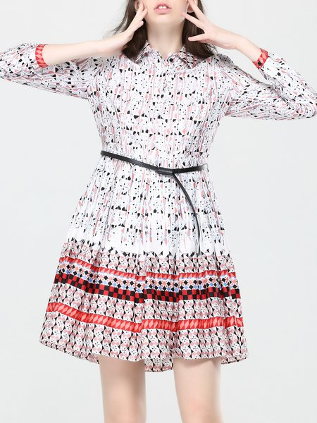 Red Cotton Long Sleeve Printed Mini Dress
