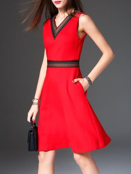 Red Casual A-line Pockets V Neck Midi Dress