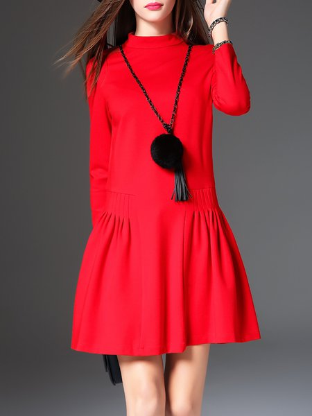 Red Gathered Casual Stand Collar Mini Dress With Necklace