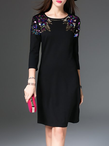 Black Crew Neck Sequins Embroidered Midi Dress