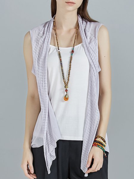 Gray Knitted Casual Asymmetric Cardigan With Camis
