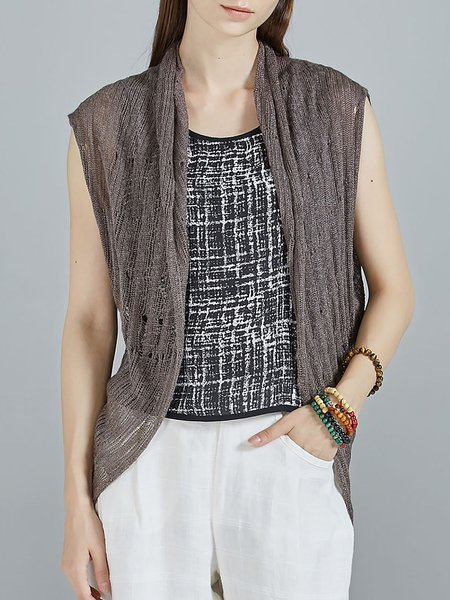 Coffee Asymmetric Casual Cardigan