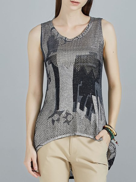 Black Knitted Sleeveless Crew Neck High Low Tanks
