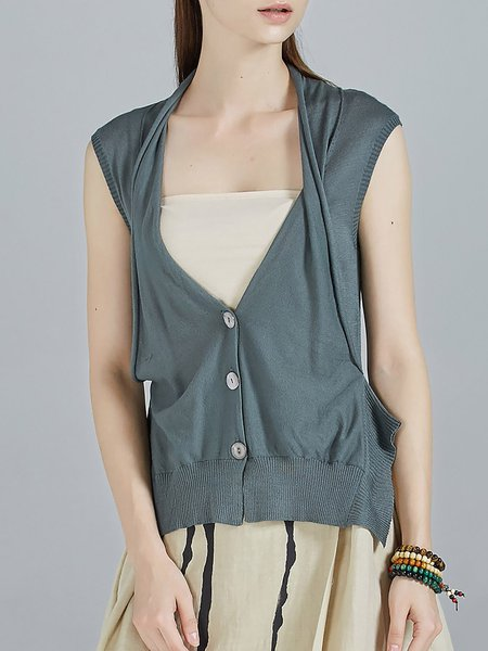 Green Plain Knitted Slit Sleeveless Buttoned Cardigan